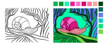 Mollusco nello stile di contorno per il libro da colorare di fauna royalty illustrazione gratis