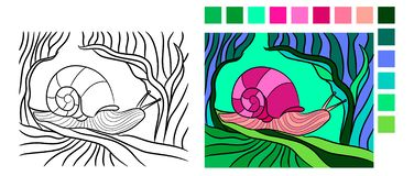 Mollusk in contour style for fauna coloring book. Vector drawing of snail. Mollusk in contour style for fauna coloring book. Coloring book page for adults and royalty free illustration