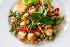 Mollusques et crustacés thaïlandais frits Photos libres de droits
