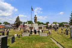 The Molly Pitcher Statue in Old Graveyard in Carlisle PA. Carlisle, PA, USA – June 26, 2016: The Mary Ludwig Hays - better known as Molly Pitcher - gravesite Stock Images