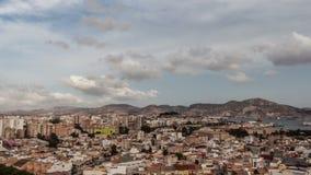 Moln över Cartagena, Spanien stock video