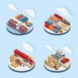 Moln över lagringslättheter med transport royaltyfri illustrationer
