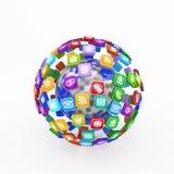 Moln av applikationsymboler Arkivfoton