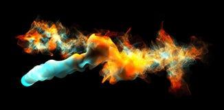 Moln av färgrik rök i mörkret, illustration 3d Royaltyfria Foton