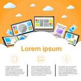 Moln för apparat för bärbar datortelefonminnestavla skrivbords- royaltyfri illustrationer