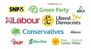 Moln för etikett för logoer för politiskt parti för riksdagsvalUK parlamentariskt Arkivfoton
