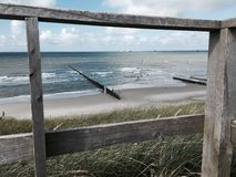 Moln för hav för Wangerooge strandsol Royaltyfri Bild