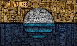 Moln för Milwaukee flaggaord arkivbild