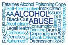 Moln för ord för alkoholmissbruk Arkivbilder