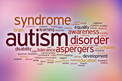 Moln för ord för autismhandikappbegrepp på en suddighet fotografering för bildbyråer