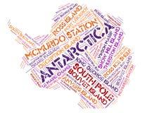 Moln för ord för destinationer för Antarktis överkantlopp Arkivfoto