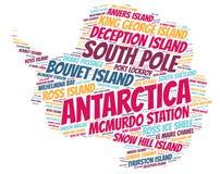 Moln för ord för destinationer för Antarktis överkantlopp Royaltyfri Bild