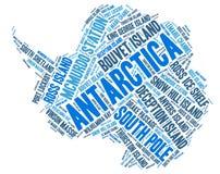 Moln för ord för destinationer för Antarktis överkantlopp Royaltyfri Foto