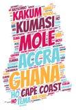 Moln för ord för destinationer för Ghana överkantlopp Arkivfoto