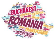 Moln för ord för destinationer för Rumänien överkantlopp Arkivfoto