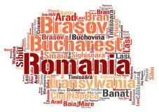 Moln för ord för destinationer för Rumänien överkantlopp Arkivbilder