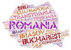 Moln för ord för destinationer för Rumänien överkantlopp Royaltyfri Bild
