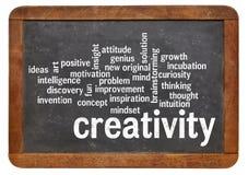 Moln för ord för kreativitetordmoln på svart tavla Arkivfoto