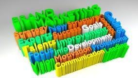 moln för ord för MARKNADSFÖRING för MÄRKE 3D stock illustrationer