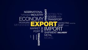 Moln för ord för sändnings för last för affär för logistik för trans. för frakter för exportimportekonomi global kommers animerat stock illustrationer