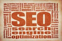 Moln för ord för sökandemotoroptimization SEO royaltyfria foton