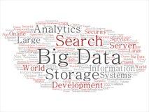Moln för ord för system för lagring för format för stora data för vektor stort stock illustrationer