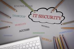 Moln för IT-säkerhetsord Kulöra blyertspennor och ett datortangentbord arkivfoto