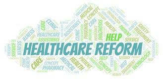 Moln för sjukvårdreformord royaltyfri illustrationer