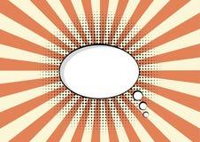 Moln för vektor för bakgrund för sunburst för kommunikation för haltone för bubbla för konst för tecknad filmanförandepop Arkivbilder