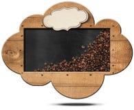 Moln-formad svart tavla med kaffebönor Fotografering för Bildbyråer