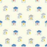 Moln med blixtmodellen seamless vektor för modell Gulliga moln, regndroppar Illustrationen för barn` s festar, packar stock illustrationer