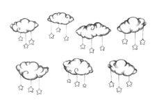 Moln med fäste stjärnor stock illustrationer