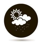 Moln med regn och solen Väderprognos Arkivfoton