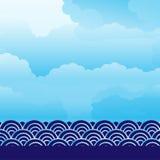 Moln- och vattenscape Royaltyfria Bilder