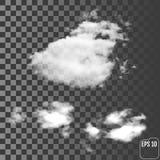 Moln Realistiskt genomskinligt olikt moln royaltyfri illustrationer