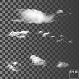 Moln Realistiskt genomskinligt olikt moln stock illustrationer