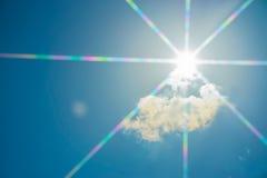 Moln sol, himmel som sett i fönster av ett flygplan Arkivfoto