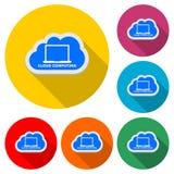 Moln som beräknar den enkla symbolen eller logoen, färguppsättning med lång skugga stock illustrationer