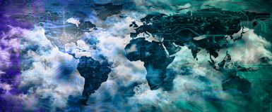 Moln som beräknar, digitalt globalt teknologibegrepp arkivfoto