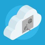 Moln som låsas på säker dörr Arkivbilder
