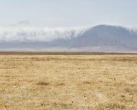 Moln som rullar över kanten av den Ngorongoro krater Arkivbild