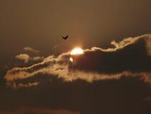 Moln som täcker solnedgång Royaltyfria Foton