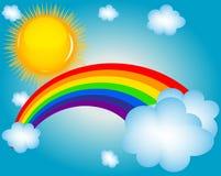 Moln sun, bakgrund för regnbågevektorillustration stock illustrationer