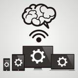 Molnberäkning - apparater förband till hjärnan royaltyfri illustrationer
