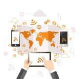 Molnberäkning och begrepp för mobil kommunikation stock illustrationer