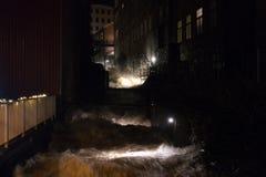 Molndal stary industial okręg przy nocą Zdjęcie Royalty Free