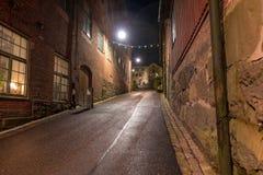 Molndal stary industial okręg przy nocą Obraz Royalty Free