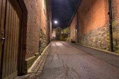 Molndal stary industial okręg przy nocą Zdjęcie Stock