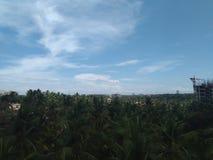 Molnen av eftermiddagen med en blandning av grönska med ett handlag av byggnader royaltyfri bild