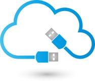 Molnet och USB pluggar, internet- och anslutningslogoen vektor illustrationer